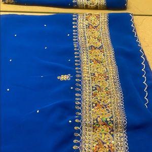 Beautiful gold work saree with blouse